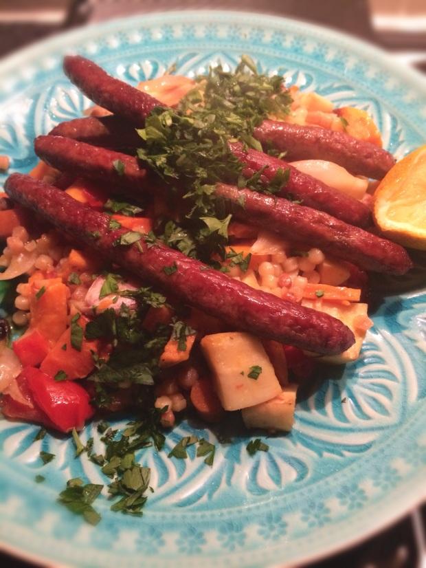 Keukengeheim thuiskok recept fregola met geroosterde groenten en merguez