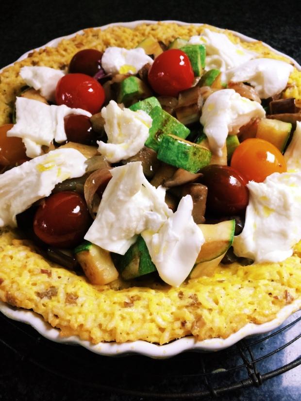 Keukengeheim rijsttaart met ratatouille en mozzarella